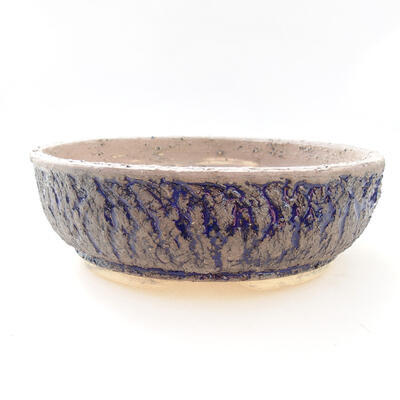 Bonsaischale aus Keramik 22 x 22 x 7 cm, Farbe grau-blau - 1