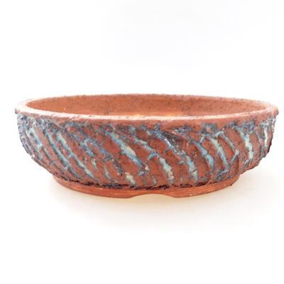 Bonsaischale aus Keramik 23 x 23 x 6,5 cm, Farbe grau-blau - 1