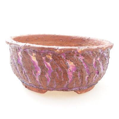 Bonsaischale aus Keramik 17 x 17 x 7 cm, Farbe grau-violett - 1