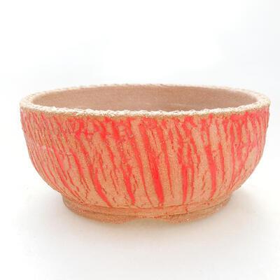 Bonsaischale aus Keramik 14,5 x 14,5 x 6,5 cm, Farbe grau-gelb - 1