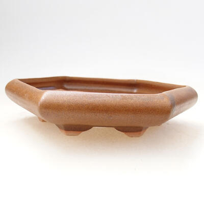 Bonsaischale aus Keramik 13 x 15 x 3,5 cm, Farbe braun - 1