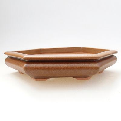 Bonsaischale aus Keramik 15 x 17 x 4 cm, Farbe braun - 1