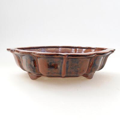 Bonsaischale aus Keramik 16 x 15,5 x 5 cm, Farbe braun-schwarz - 1