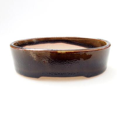 Bonsaischale aus Keramik 12 x 9 x 3,5 cm, Farbe schwarz-gelb - 1