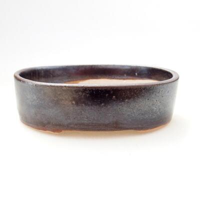 Bonsaischale aus Keramik 11,5 x 9 x 3,5 cm, metallfarben - 1