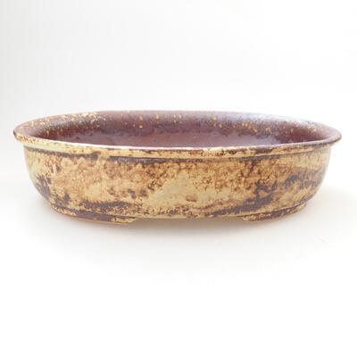 Bonsaischale aus Keramik 21 x 16 x 5 cm, Farbe braun-gelb - 1