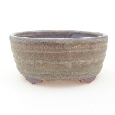 Keramische Bonsai-Schale 10,5 x 9 x 4,5 cm, Farbe braun-grün - 1