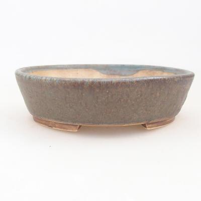 Keramische Bonsai-Schale 14 x 13 x 3,5 cm, braun-grüne Farbe - 1