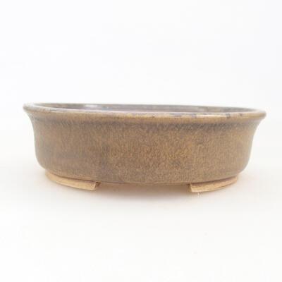 Keramische Bonsai-Schale 12 x 11 x 3 cm, braune Farbe - 1