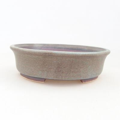 Keramische Bonsai-Schale 12 x 11 x 3 cm, braun-blaue Farbe - 1