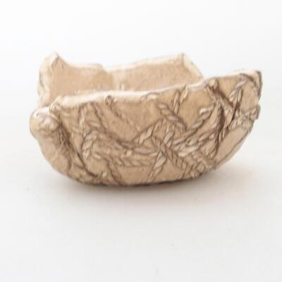 Keramikschale 7 x 7 x 4,5 cm, beige Farbe - 1