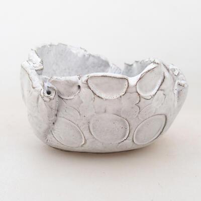 Keramikschale 7 x 7 x 5 cm, weiße Farbe - 1