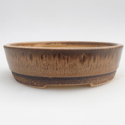 Keramik Bonsaischale 15,5 x 15,5 x 4,5 cm, Farbe braun - 1