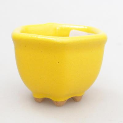 Mini Bonsai Schüssel 4 x 4 x 3 cm, gelbe Farbe - 1