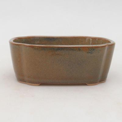 Keramische Bonsai-Schale 12 x 9,5 x 4,5 cm, Farbe grau-rostig - 1