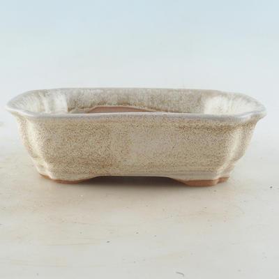Keramische Bonsai-Schale 16 x 12,5 x 4,5 cm, beige Farbe - 1