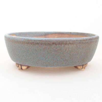 Keramische Bonsai-Schale 12 x 9,5 x 3,5 cm, Farbe blau - 1