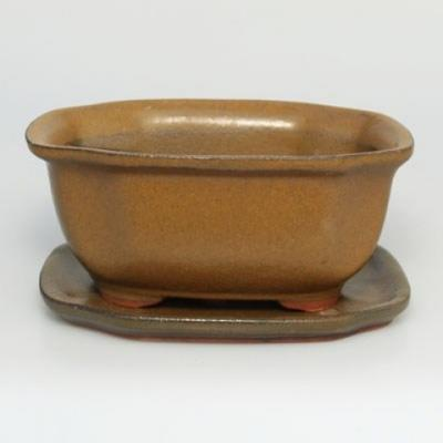 Bonsai Schüssel Tablett H32 - Schüssel 12,5 x 10,5 x 6 cm, Tablett 12,5 x 10,5 x 1 cm - 1