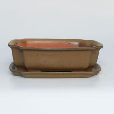 Bonsai-Schüssel + Untertasse H17 - Schüssel 14,5 x 10,5 x 4,5 cm, Untertasse 14,5 x 10 x 1 cm - 1