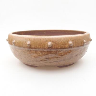 Keramische Bonsai-Schale 19,5 x 19,5 x 7,5 cm, braune Farbe - 1