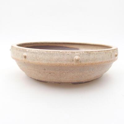 Keramische Bonsai-Schale 17,5 x 17,5 x 5,5 cm, beige Farbe - 1