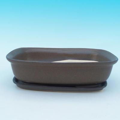 Bonsai Schüssel Tablett H10 - Schüssel 37 x 27 x 10 cm, Tablett 34 x 23 x 2 cm - 1