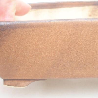 Keramische Bonsai-Schale 14,5 x 11,5 x 4,5 cm, braune Farbe - 2