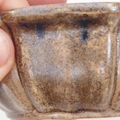 Keramische Bonsai-Schale 11,5 x 11,5 x 4,5 cm, braun-beige Farbe - 2