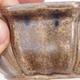Keramische Bonsai-Schale 11,5 x 11,5 x 4,5 cm, braun-beige Farbe - 2/4