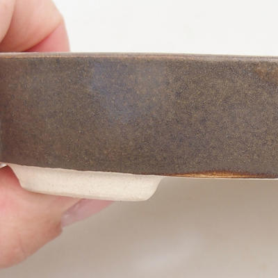 Keramische Bonsai-Schale 11 x 9 x 2,5 cm, braune Farbe - 2