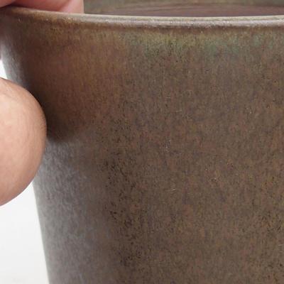 Keramische Bonsai-Schale 10,5 x 10,5 x 13 cm, braune Farbe - 2