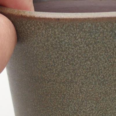 Keramische Bonsai-Schale 9,5 x 9,5 x 10 cm, Farbe braun-grün - 2