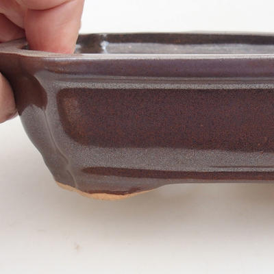 Keramische Bonsai-Schale 15,5 x 12 x 4,5 cm, braune Farbe - 2