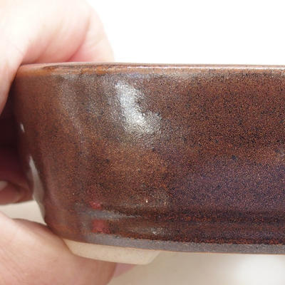 Keramische Bonsai-Schale 12,5 x 8,5 x 3,5 cm, braune Farbe - 2