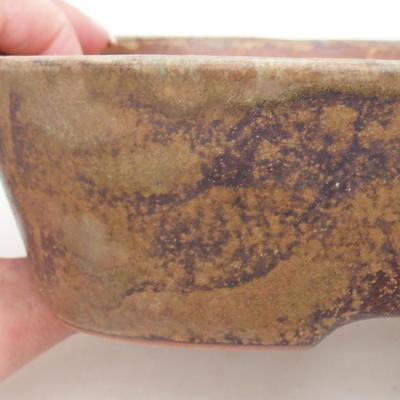 Keramische Bonsai-Schale 23 x 18 x 5 cm, Farbe braun-grün - 2