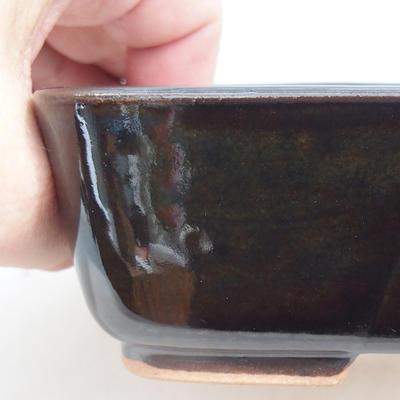 Keramische Bonsai-Schale 15 x 12 x 4,5 cm, Farbe braun-grün - 2
