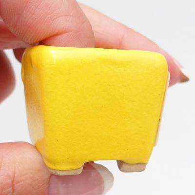 Mini Bonsai Schüssel 3 x 3 x 3 cm, gelbe Farbe - 2