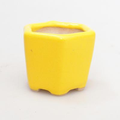 Mini Bonsai Schüssel 4 x 4 x 3,5 cm, gelbe Farbe - 2