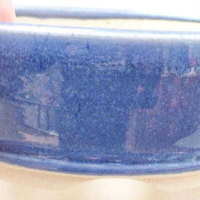 Keramische Bonsai-Schale 11,5 x 11,5 x 4 cm, Farbe blau - 2