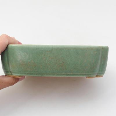 Keramik Bonsaischale 18 x 12,5 x 5 cm, Farbe grün - 2