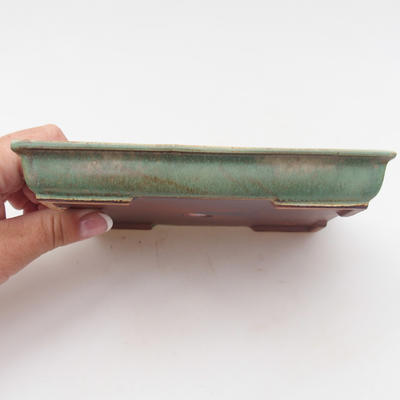 Keramik Bonsaischale 15,5 x 12,5 x 2 cm, Farbe grün - 2