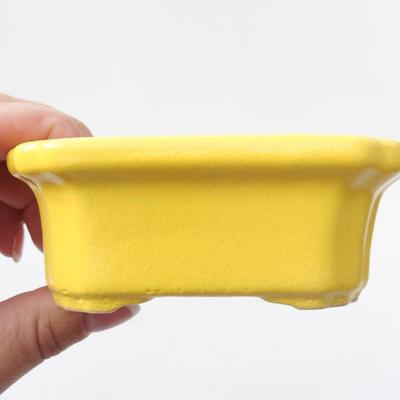 Keramik Bonsai Schüssel 10,5 x 8,5 x 4 cm, gelbe Farbe - 2