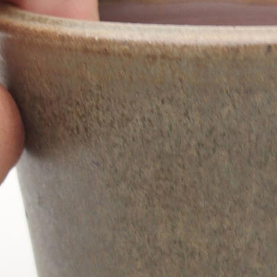 Keramische Bonsai-Schale 10,5 x 10,5 x 9 cm, braun-grüne Farbe - 2