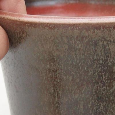 Keramische Bonsai-Schale 10 x 10 x 10 cm, Farbe braun-grün - 2