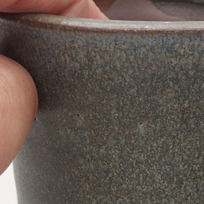 Keramische Bonsai-Schale 9 x 9 x 10,5 cm, graue Farbe - 2