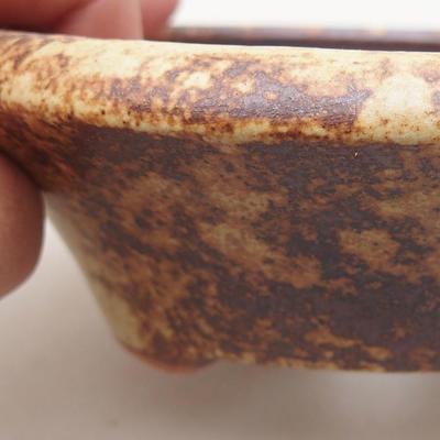 Keramische Bonsai-Schale 12,5 x 12,5 x 4 cm, gelbe Farbe - 2
