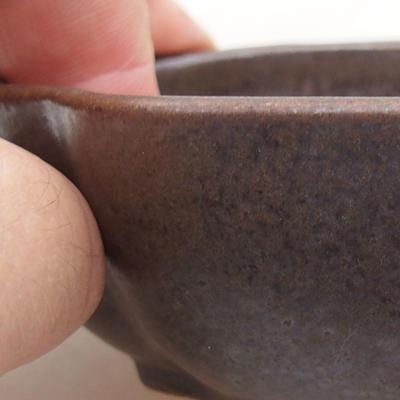 Keramische Bonsai-Schale 10 x 8 x 3 cm, Farbe braun - 2
