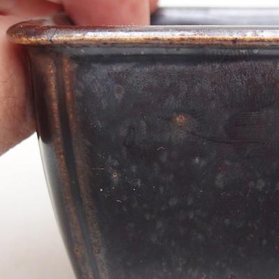 Keramische Bonsai-Schale 8 x 8 x 5 cm, Metallfarbe - 2