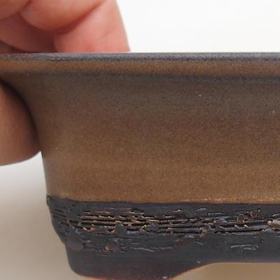 Keramik Bonsaischale 12 x 9 x 5 cm, Farbe braun - 2