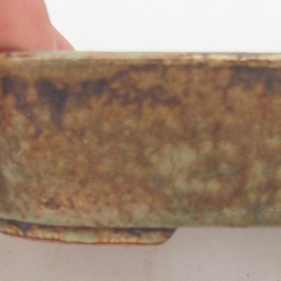 Keramische Bonsai-Schale 12,5 x 9,5 x 3 cm, Farbe braun-grün - 2. Qualität - 2